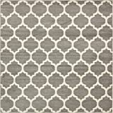 Unique Loom Trellis Collection Moroccan Lattice Dark Gray Square Rug (8' x 8')