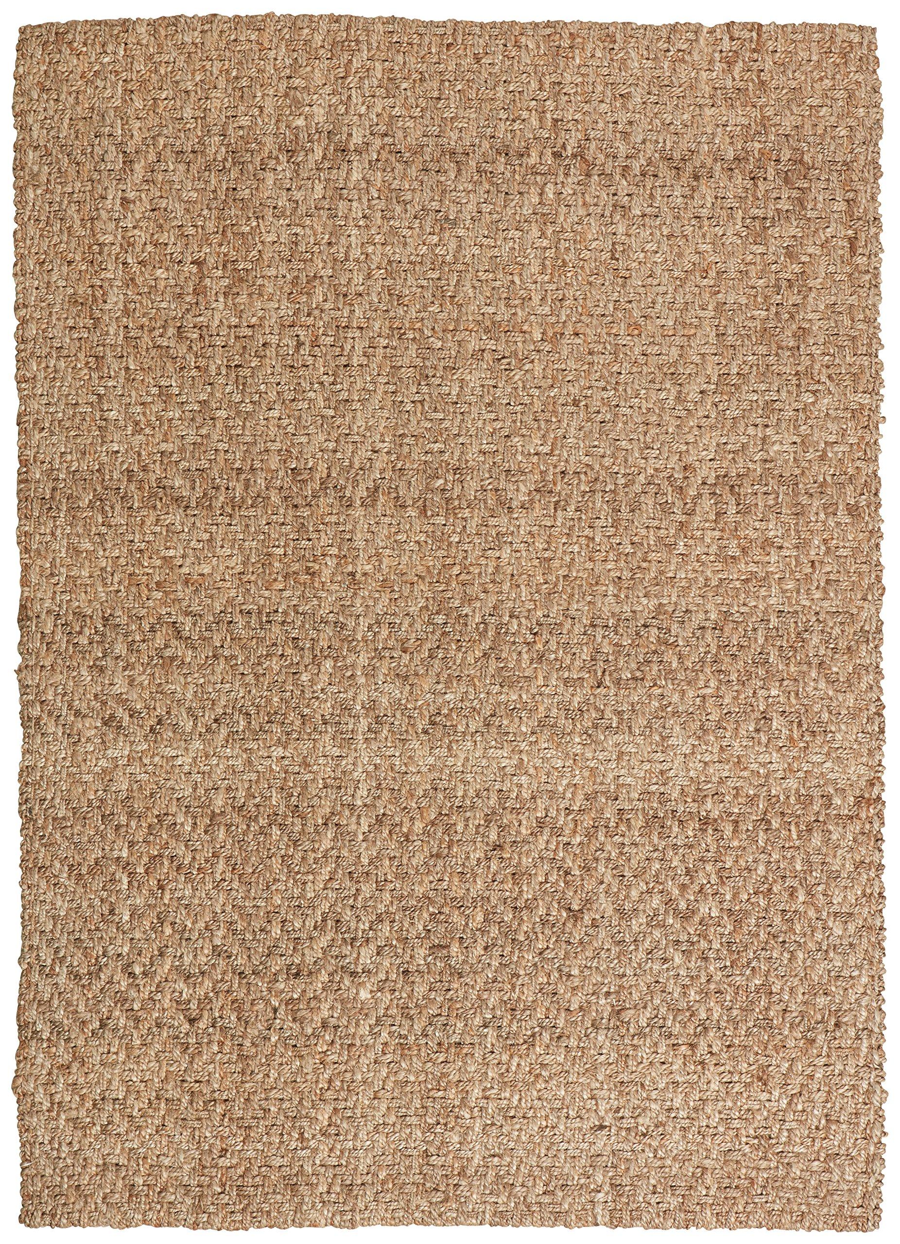 Stone & Beam Contemporary Textured Jute Rug, 5' x 7', Tan