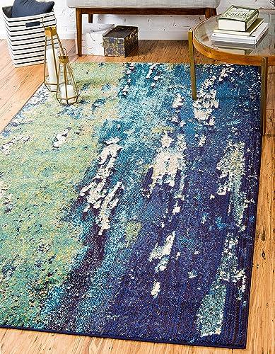 Unique Loom Estrella Collection Vibrant Abstract Navy Blue Area Rug 8' 0 x 11' 0