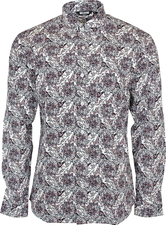 Relco - Camisa casual - Button Down - Paisley - con botones - Manga Larga - para hombre blanco blanco small: Amazon.es: Ropa y accesorios