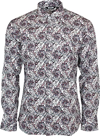 df25b9acb6f Relco Men s White Red Blue Paisley Longsleeve Button Down 100% Cotton Shirt  XXX-Large