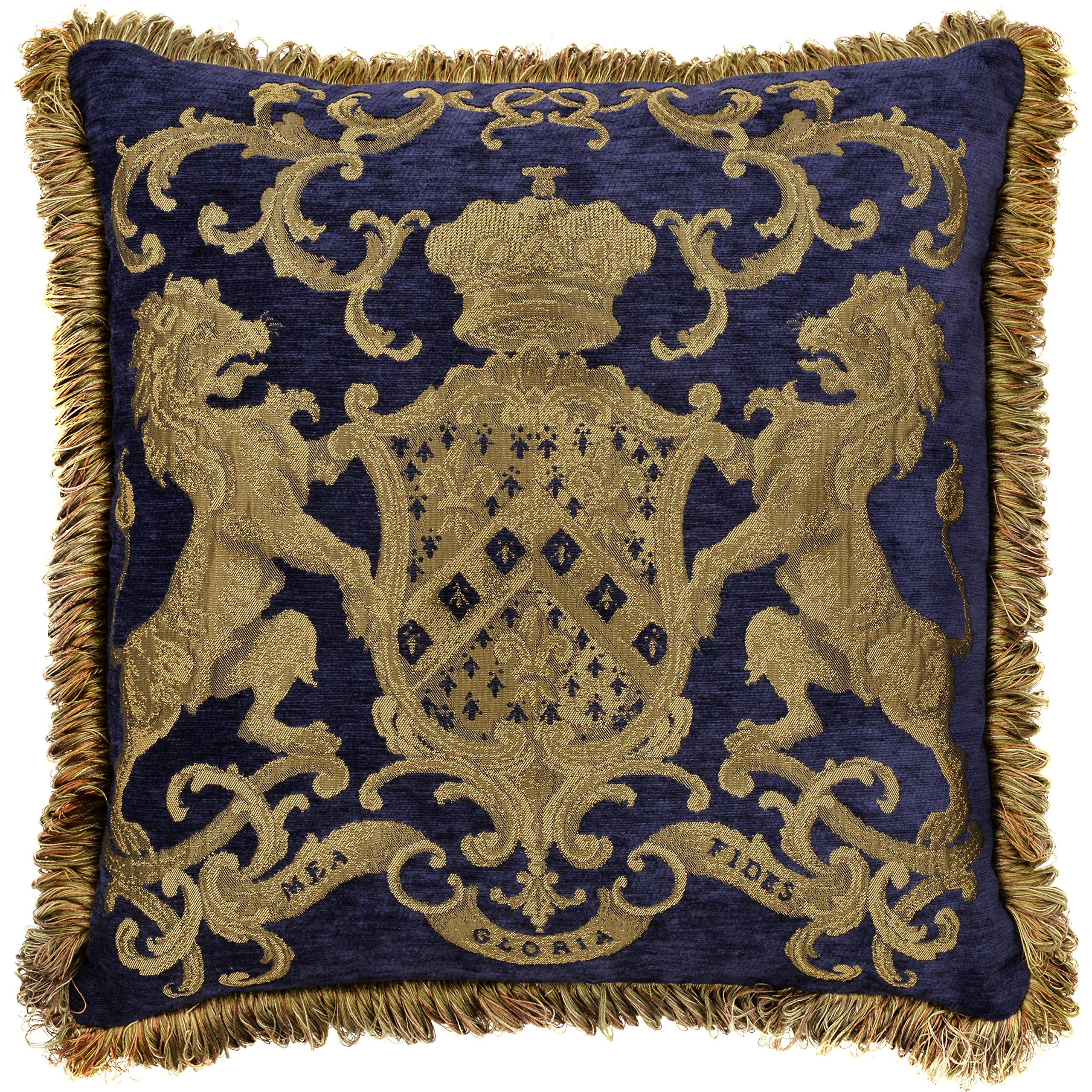 Adorabella Heraldic Royal Blue Pillow - Crest Design With Latin Woven Inscription - My Faith is My Glory - 21'' x 21'' Square Throw Pillow Home Decor Scatter Cushion - Complete With Insert