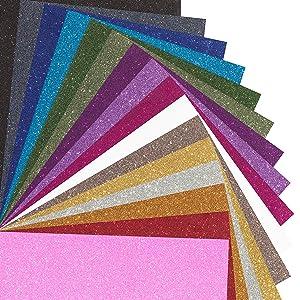 MAREA Glitter Heat Transfer Vinyl Sheets, 16 Sheet Bundle of Glitter HTV Iron On Vinyl for Cricut - Glitter Vinyl For Silhouette Cameo & Heat Press | Durable, Vibrant Colors for All HTV Vinyl Projects