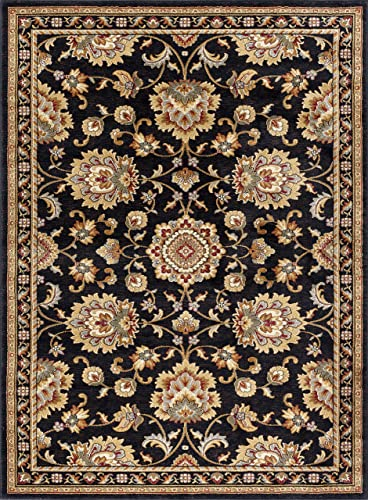 Charlotte Traditional Oriental Black Rectangle Area Rug, 8 x 10