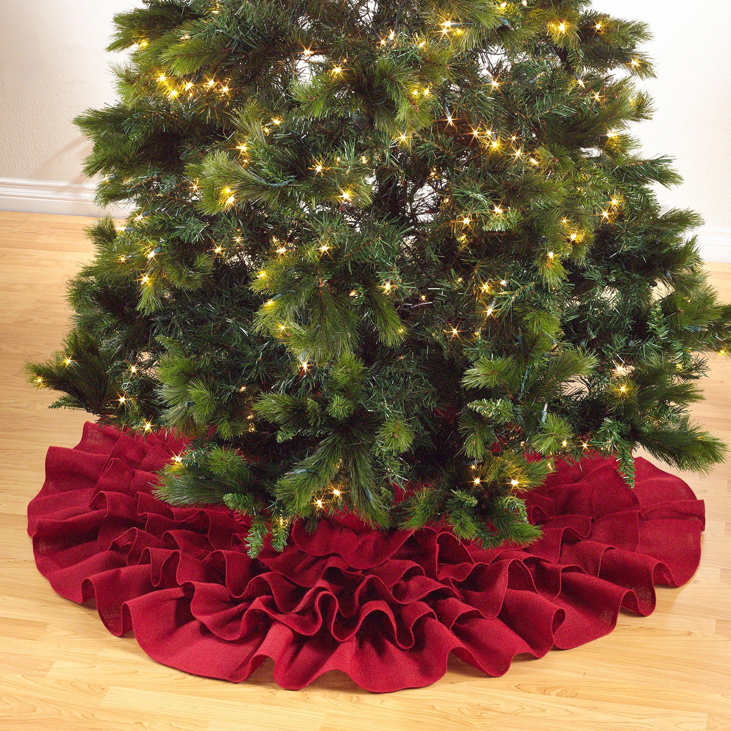 SARO LIFESTYLE 0516.R56R Ruffled Design Jute Tree Skirt, Red, 56''