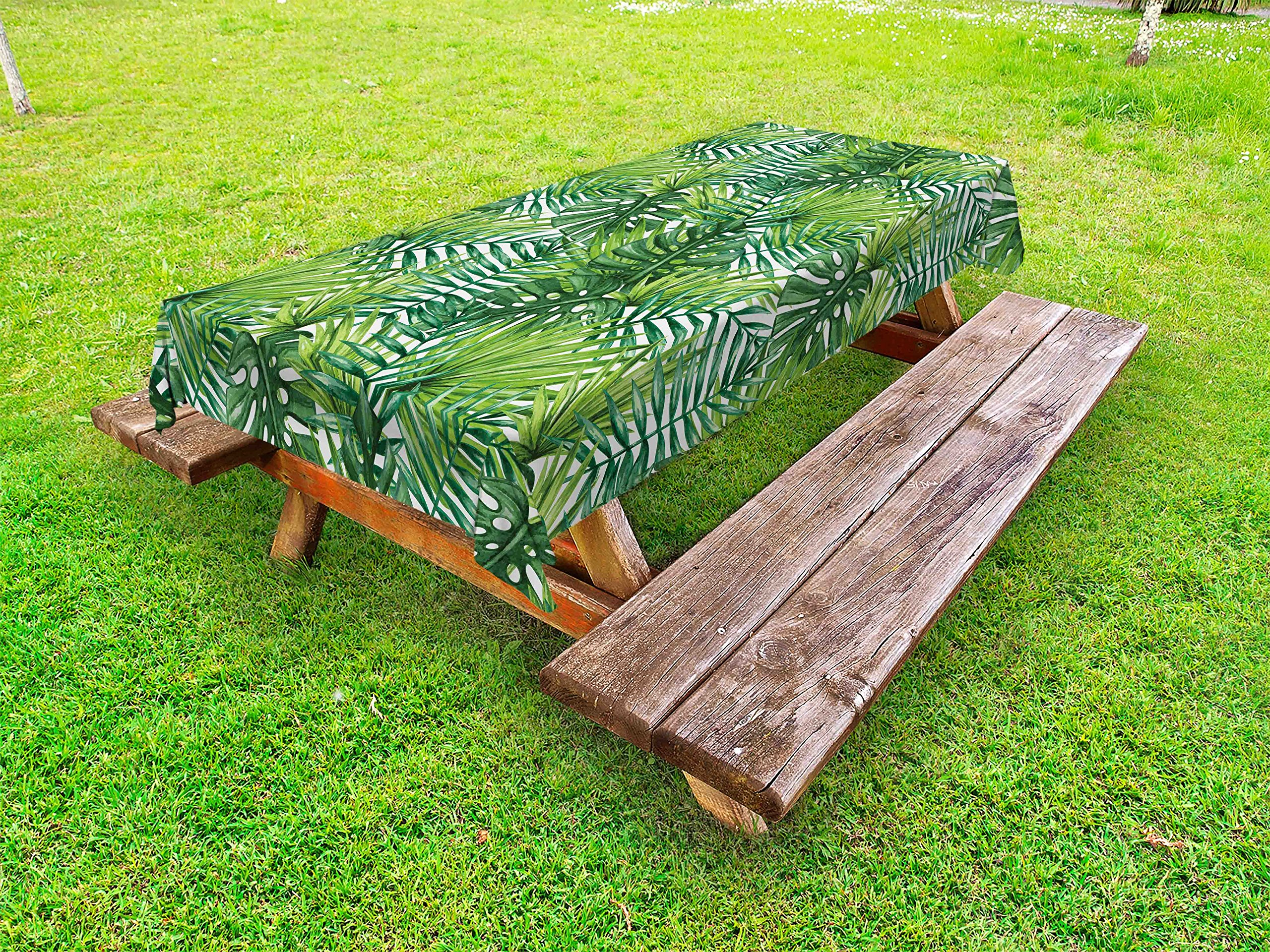 Ambesonne Leaf Outdoor Tablecloth, Tropical Exotic Banana Forest Palm Tree Leaves Watercolor Design Image, Decorative Washable Picnic Table Cloth, 58 X 84 inches, Pale Green and Dark Green