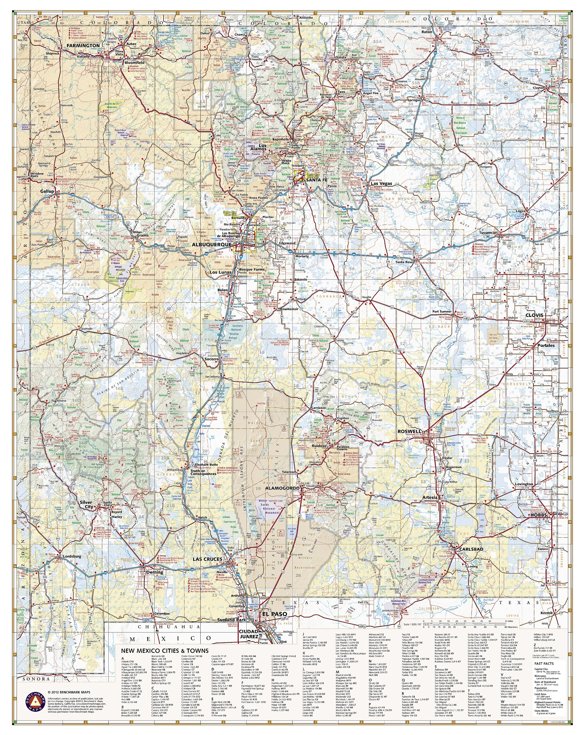 New Mexico Recreation Map: Benchmark Maps: 0767020000594: Amazon.com ...