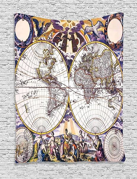 Antique World Map Tapestry.Amazon Com Ambesonne Map Tapestry Wanderlust Decor Antique World