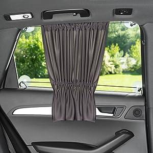 Pare-soleil voiture bébé - avec rideau à ouvrir ou fermer facilement | Anti-uv - protection contre la chaleur et pour obscurcir | XXL 68 x 50 cm - convient aussi pour grandes vitres latérales | anthracite/noir