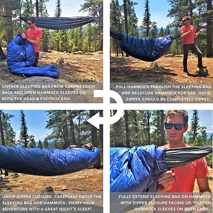 Hyke & Byke Hammock Underquilt / 15 Degree F Down Sleeping Bag for Hammock or Ground Camping or Backpacking