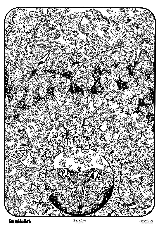 The Original DoodleArt by PlaSmart - Butterflies, Adult Coloring 24 ...