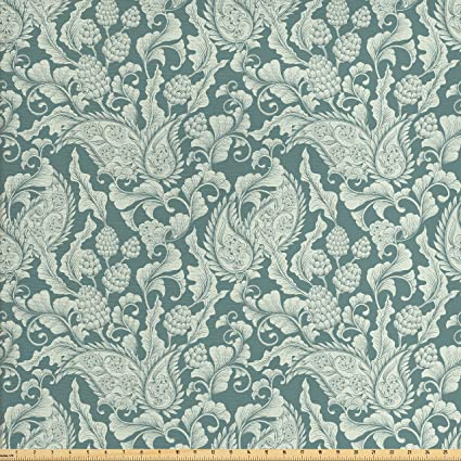 99eb5b13ec Ambesonne Damask Fabric by The Yard, Victorian Inspired Floral Arrangement  Vintage Plant Design Soft Color