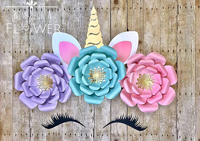 Amazon unicorn face paper flower backdrop unicorn horn ears unicorn face paper flower backdrop unicorn horn ears and lashes fully assembled mightylinksfo