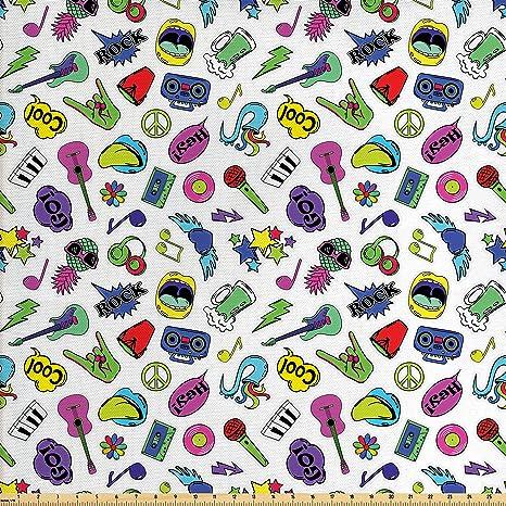 Amazon Com Ambesonne Emoji Fabric By The Yard Colorful Fun Music