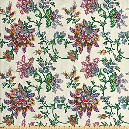 Amazon Com Ambesonne Bohemian Fabric By The Yard Retro Colorful