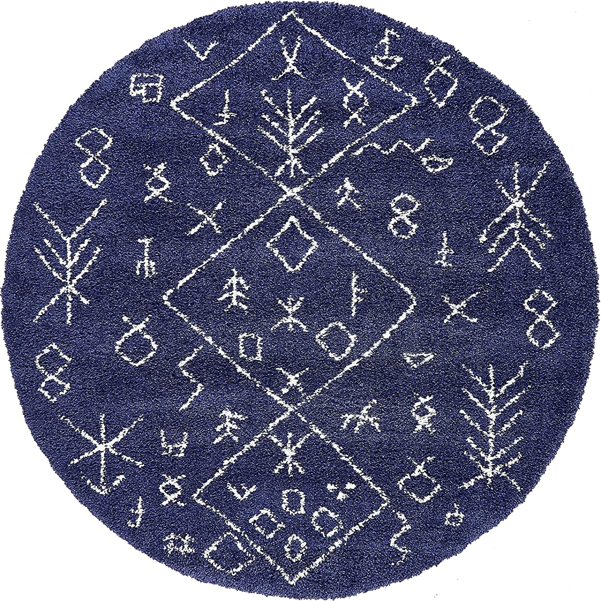 Unique Loom Rabat Shag Collection Tribal Moroccan Nomad Plush Navy Blue Round Rug (8 x 8)