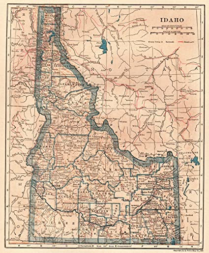 Amazon.com: 1922 Antique Idaho State Map Original Vintage Map of ...