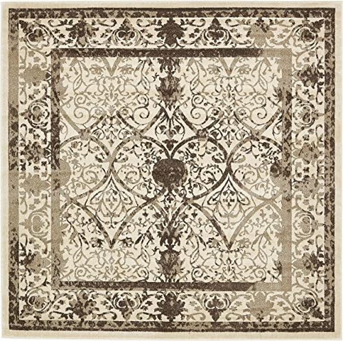 Unique Loom La Jolla Collection Tone-on-Tone Traditional Beige Square Rug 8 0 x 8 0