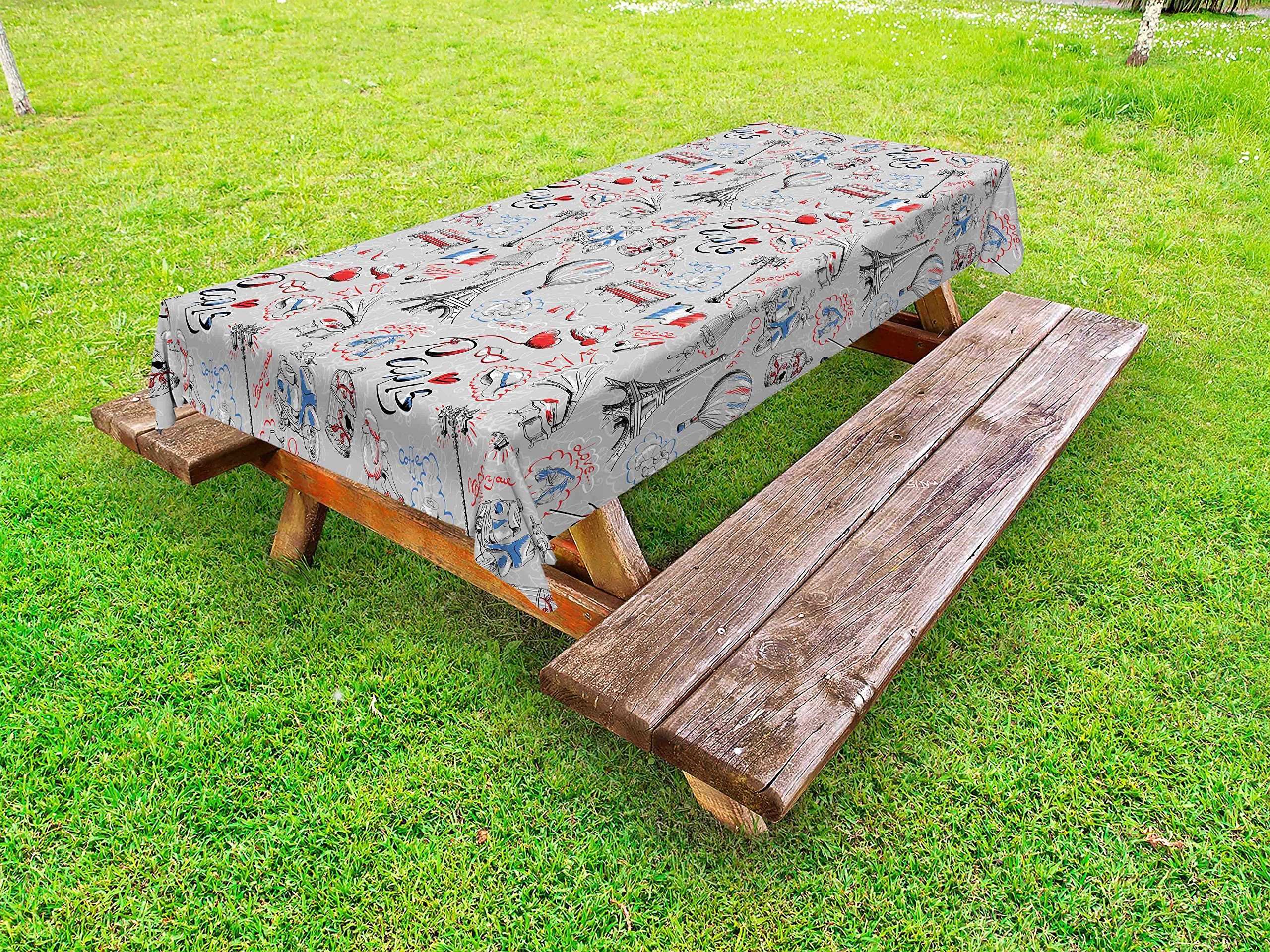 Ambesonne Paris Outdoor Tablecloth, France Themed Image with French Flag Dogs Eiffel Tower Croissant Vintage City of Love, Decorative Washable Picnic Table Cloth, 58 X 84 Inches, Multicolor