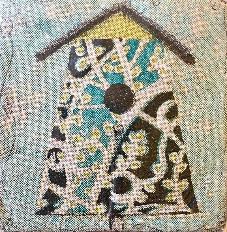 30のセット用紙2層カクテル飲料紙ナプキン~ Teal Birdhouse B01LWJY2RY