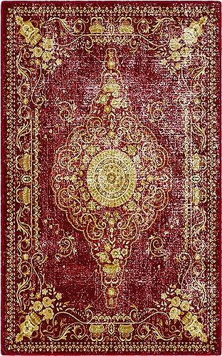 Brumlow Mills Distressed Persian Traditional Vintage Oriental Area Rug, 3 4 x 5