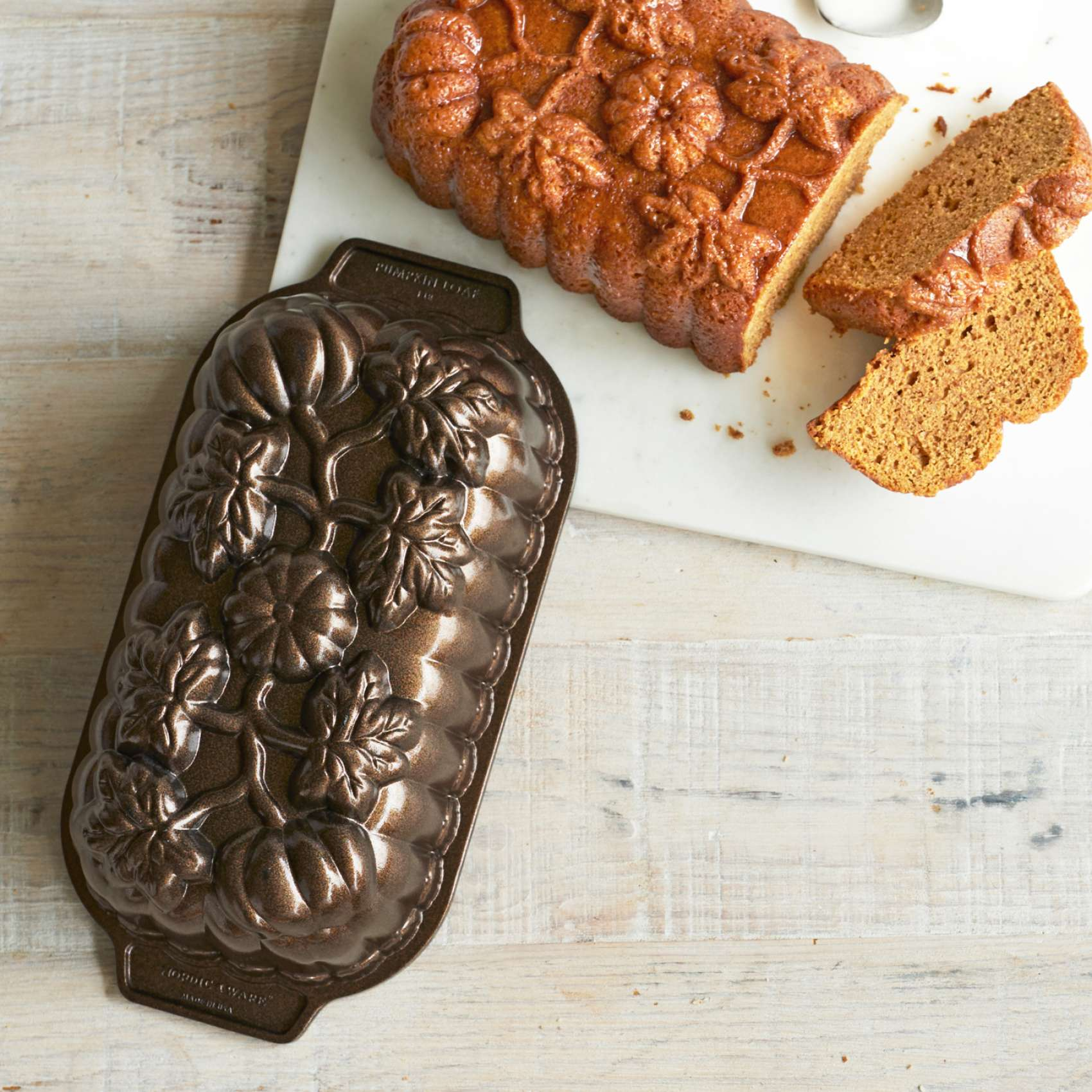 Nordic Ware Pumpkin Loaf Pan, Bronze Finish | Sur La Table