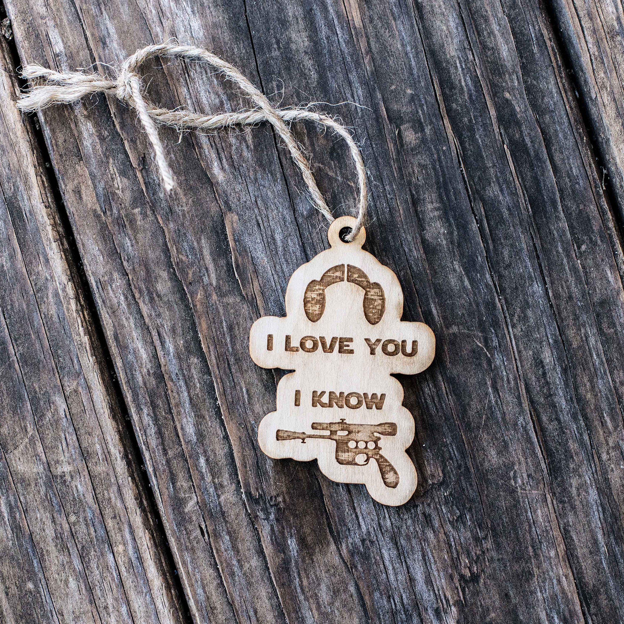 Ornament - I Love You I Know - Raw Wood 3x2in by Hip Flask Plus (Image #2)
