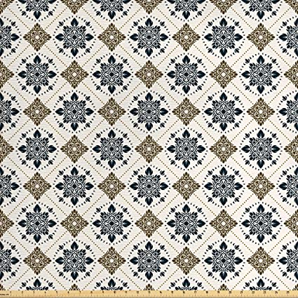 Ambesonne Traditional House Decor Fabric By The Yard Retro Boho Welsh Pears With Persian Pickles