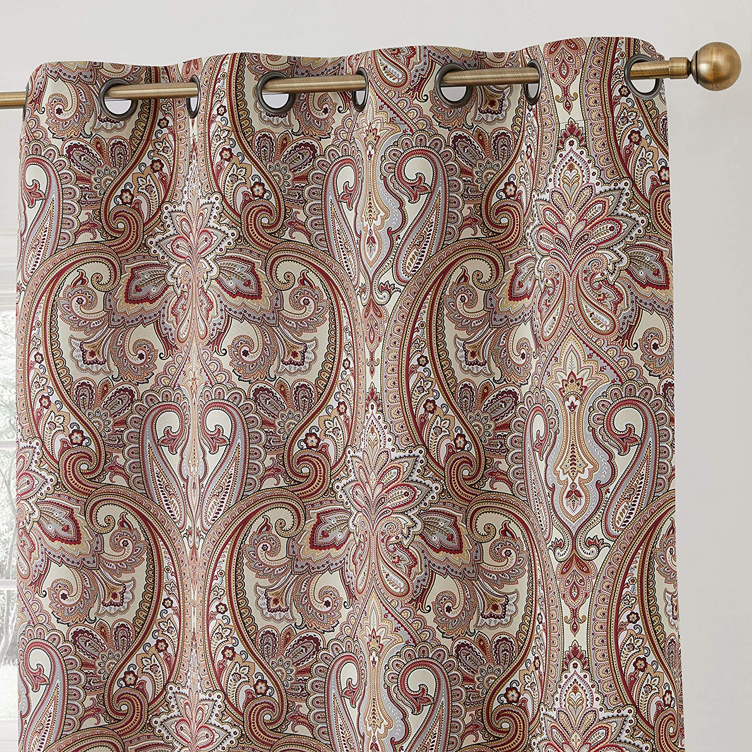 Set of 2-50 W x 84 L Spice Red HLC.ME Paris Paisley Print Damask Thick Thermal Insulated Energy Efficient Room Darkening Blackout Grommet Top Window Curtain Panels for Bedroom /& Living Room