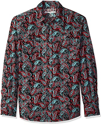 Cinch Mens Modern Fit Long Sleeve Shirt with Snap Front
