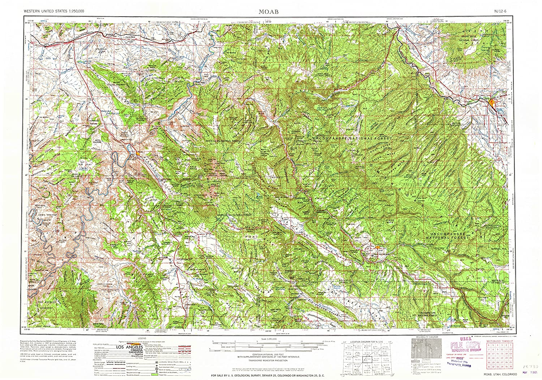 Amazon.com : YellowMaps Moab UT topo map, 1:250000 Scale, 1 X 2 ...