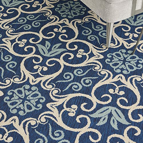 "Nourison Caribbean Transitional Botanical Navy Indoor/Outdoor Area Rug 7'10"" x 7'10"""