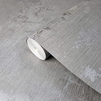 Wallpaper silver metallic Textured Plain Modern faux metal wall coverings rolls