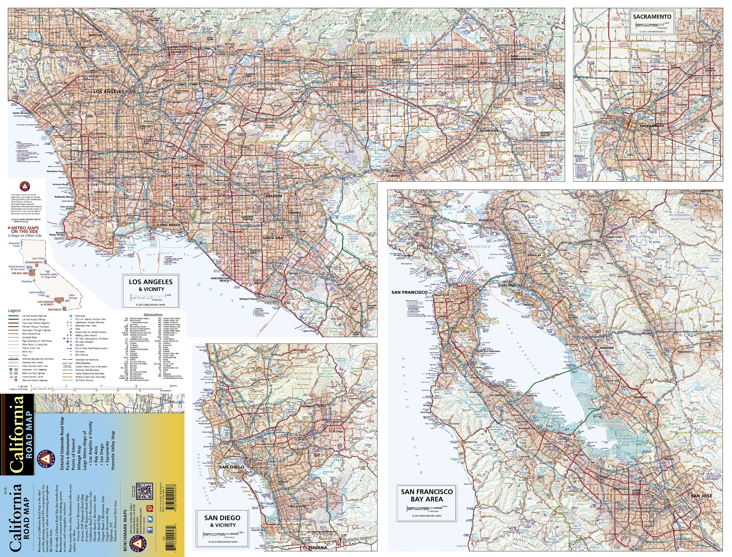 Benchmark California Road Map Benchmark Maps National Geographic - Los angeles geography map