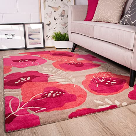 Amazon.com: Raspberry Pink Floral Design Pattern Living Room Wool ...