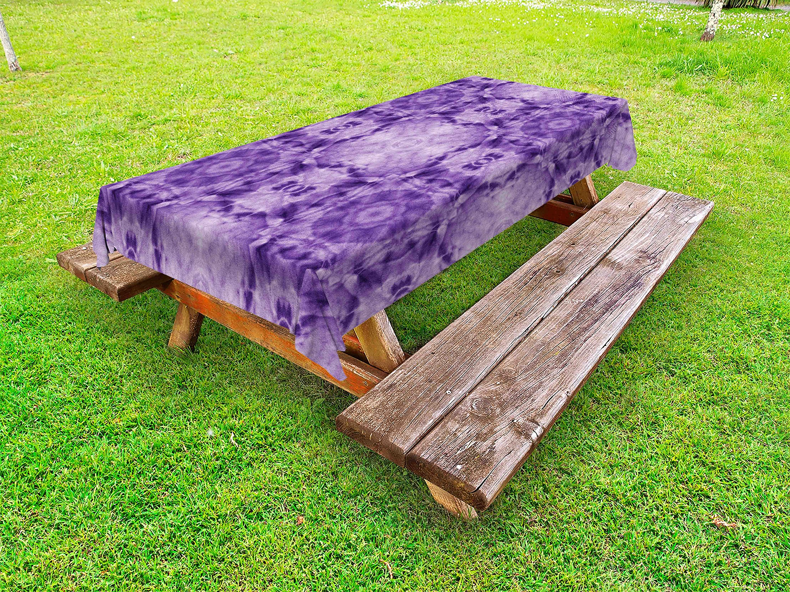 Lunarable Thai Outdoor Tablecloth, Thai Style Motif Generated with Square Shaped Kaleidoscope Murky Toned Forms Psychedelic, Decorative Washable Picnic Table Cloth, 58 X 104 inches, Purple by Lunarable