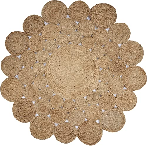 LR Resources Jute LR12030-NAT60RD Natural Round 6 ft Indoor Area Rug
