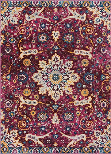 Well Woven Celestial Boho Medallion 5×7 5 3 x 7 3 Area Rug Purple Distressed Traditional Vintage Floral Oriental