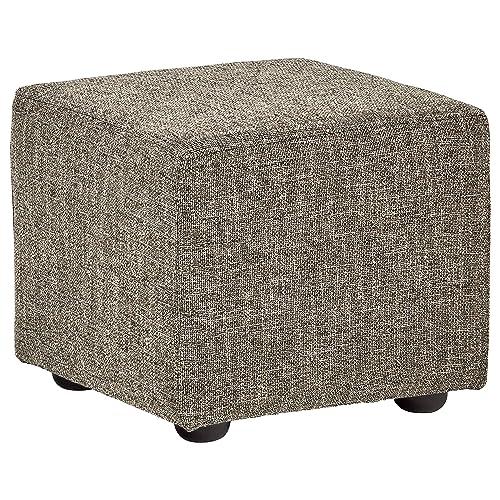 Rivet Modern Upholstered Cube Ottoman, 20 W, Bear