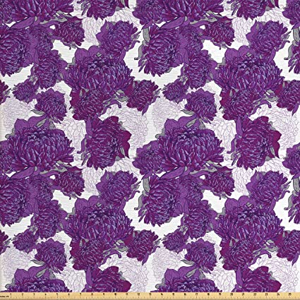 Ambesonne Mauve Decor Fabric By The Yard Unusual Vivid Allium Flower Petals Design Hippie Wild