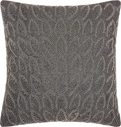 Amazon Com Nourison Mina Victory Z6040 Luminescence Beaded Feathers Throw Pillow 20 X 20 Pewter Home Kitchen