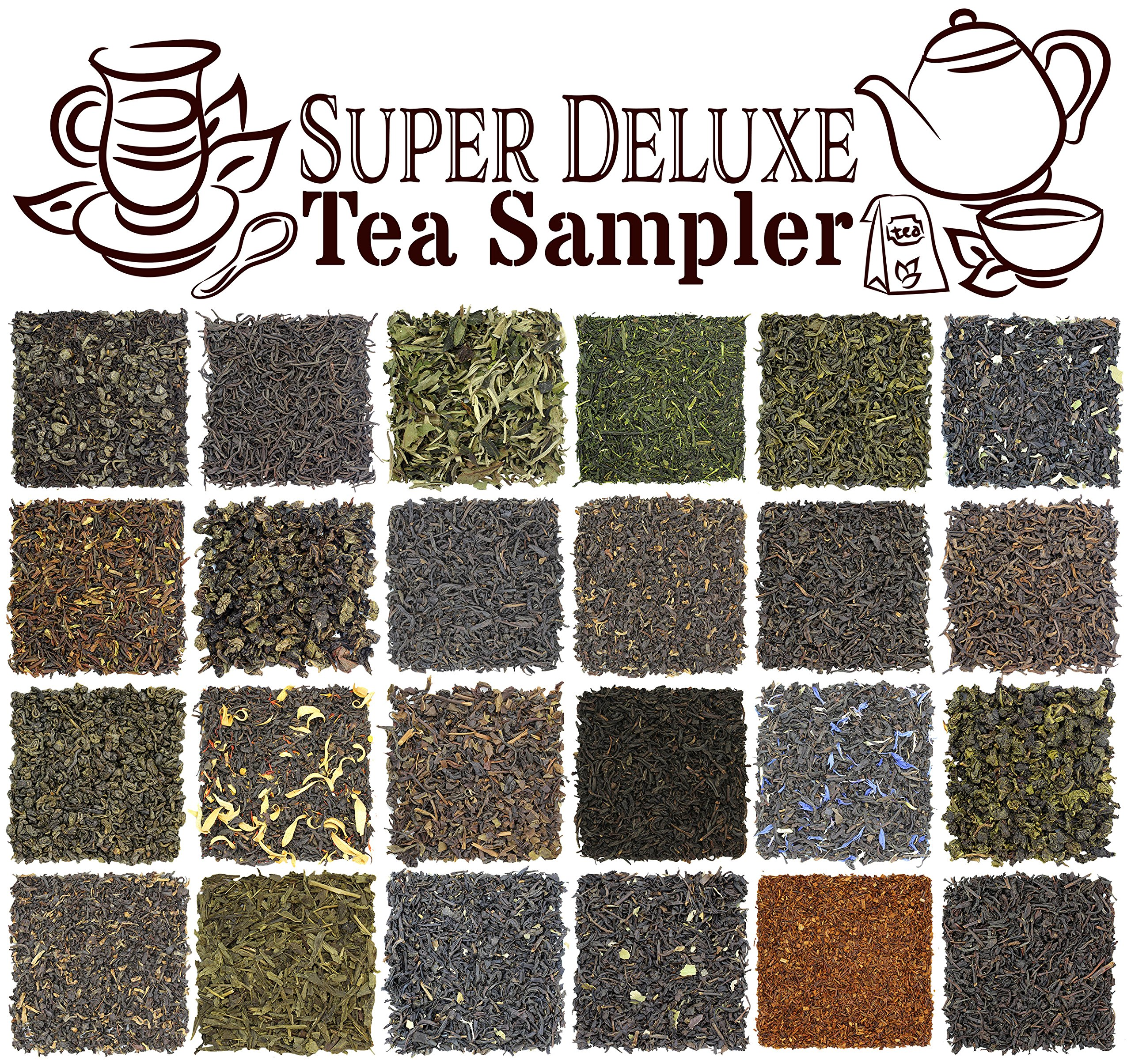 24-Variety Super Deluxe Loose Leaf Tea Sampler Gift Set w/Green, Black, Oolong, White, Herbal, Pu'er and Flavored Gourmet Teas