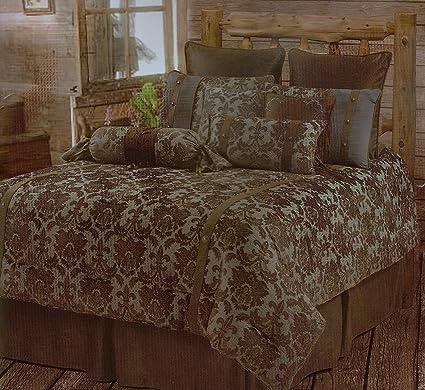 Merveilleux Luxurious Fleur De Lis Rustic Comforter Bedding Bedroom Set   5 Pieces  (Super