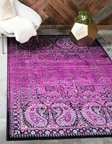 Unique Loom Imperial Collection Modern Traditional Vintage Distressed Lilac Area Rug 7' 0 x 10' 0