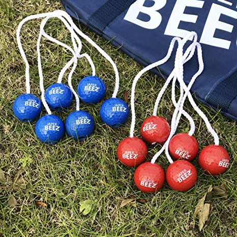 Amazon.com : JAPER BEES Patriotic Ladder Ball Game Set, Rope Ladder Ball Toss, Golf Toss, Bolo Ball Lawn Game with Thickest Pipes, 6 Real Golf Ball Bolas, ...
