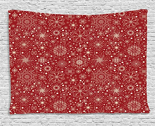 Ambesonne Retro Tapestry, Snowflakes with Skinny Curls Cheerful Yuletide Noel Inspiration in Art, Wide Wall Hanging for Bedroom Living Room Dorm, 60 X 40 , Vermilion Beige