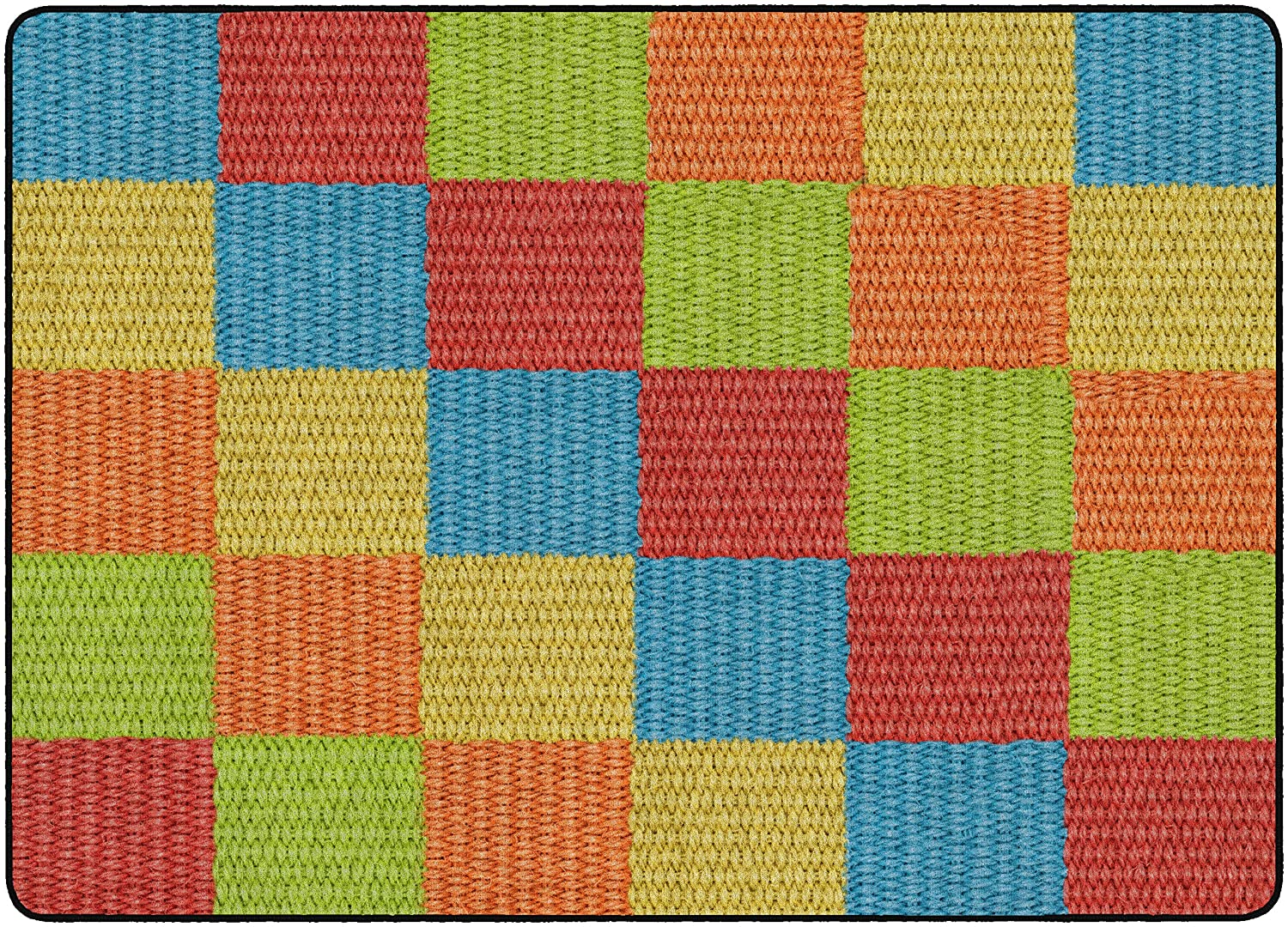 Flagship Carpets FE103-14A Addition and Subtraction Multi-Color 4x4 Square Childrens Educational Classroom Rug