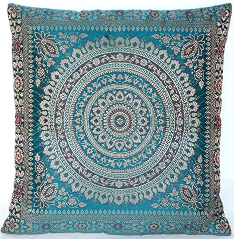 Turquoise / Türkis Indische Seide Deko Kissenbezüge 40 cm x 40 cm,  Extravaganten Deko Kissenbezüge für Wohnzimmer und Schlafzimmer Dekoration,  ...