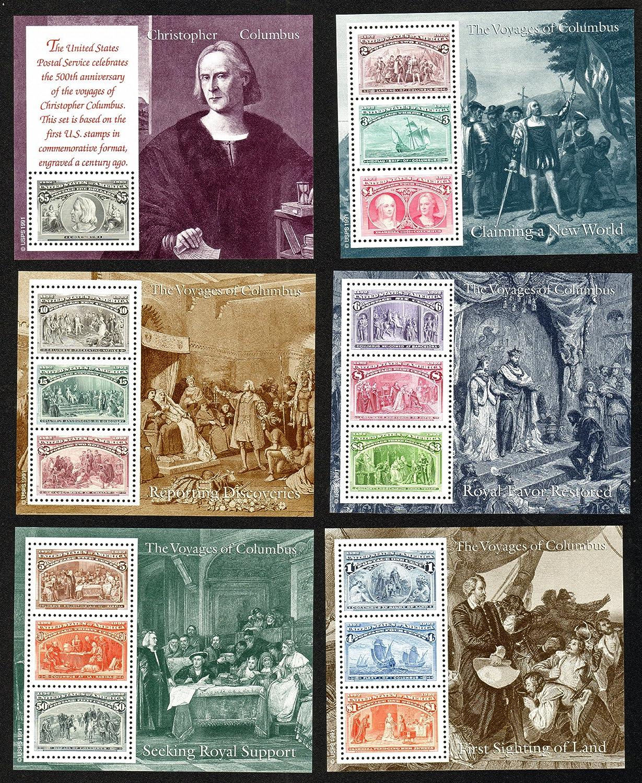 Voyages of Columbus*US Postage Stamps*Unused Mint Condition*Scott #2624-29*6 Souvenir Sheets*Historical Collectible Memorabilia