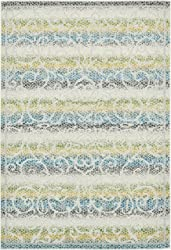 Unique Loom Lisbon Collection Botanical Vibrant Colors Transitional Indoor and Outdoor Cream Area Rug (6' x 9')